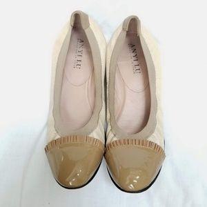 Anyi Lu Tan Snakeskin Patent Leather Flats Sz 41.5